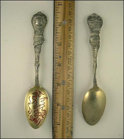 Red Kansas City, City Seal, Paseo, Exchange Building, Willis Wood Theatre... Souvenir Spoon