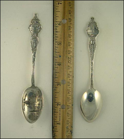 Court House, Fish, Calumet & Hecla, State Seal, State Capitol, Adrian, Michigan Souvenir Spoon MAIN