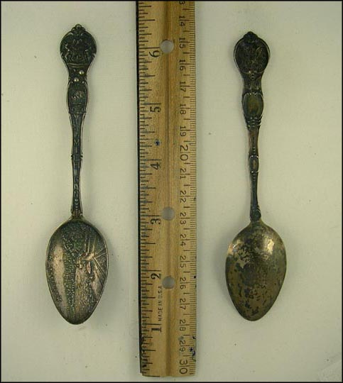 Copper Mine, Load of Logs, State Seal, Macatawa, Michigan Souvenir Spoon