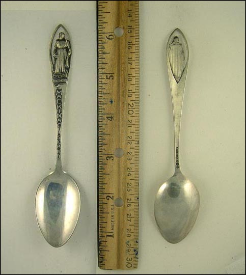 Cut Out Statue of Pere Marquette, Mackinac Island, Michigan Souvenir Spoon