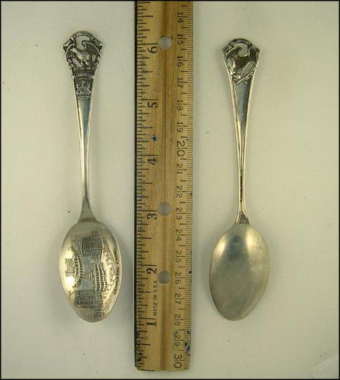 Central Depot, State Seal, Cut Out Eagle, Detroit, Michigan Souvenir Spoon