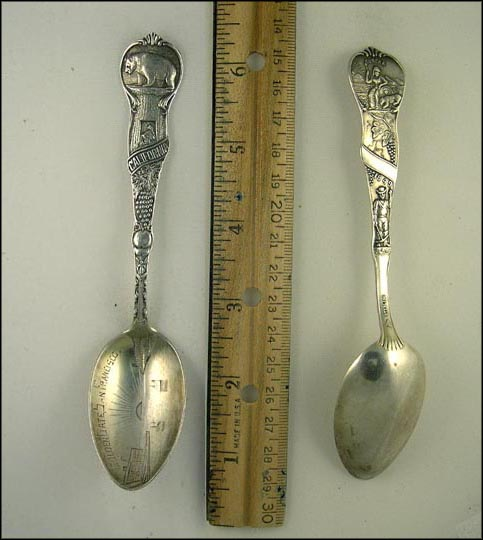 Golden Gate, Fruit, Bear, Eureka 1849, San Francisco, California Souvenir Spoon