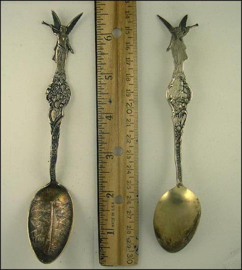 Mt. Lowe Incline, Grapes, Angel, State Seal, Los Angeles, California Souvenir Spoon