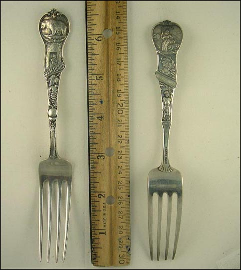 Bear, Fruit, State Seal, 1849, Miner Souvenir Spoon MAIN