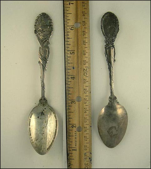 USS Maine Built 1895 Destroyed in Havana Harbor Feb. 15, 1898, Sailor and Capitol Souvenir Spoon