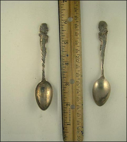 Grover Cleveland, Nominated Three Times Elected Twice, White House, Inaugurated March 4th 1885, 1893 Souvenir Spoon MAIN