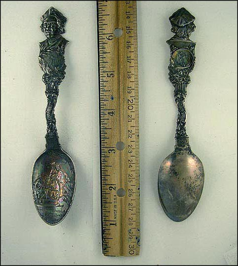 Columbus, 1892-3, Globe, Columbus at Barcelona, World's Fair, Chicago, Illinois Souvenir Spoon