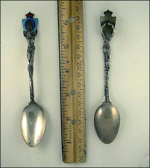 Native American Holding Enamled Crest Souvenir Spoon