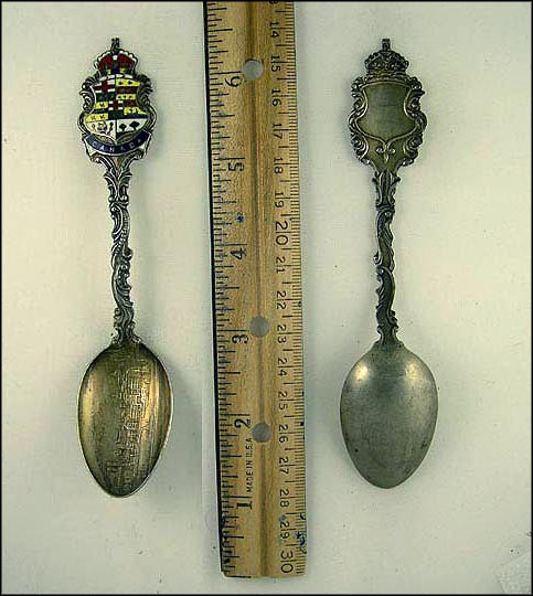 Enameled Crest, City Scene Souvenir Spoon