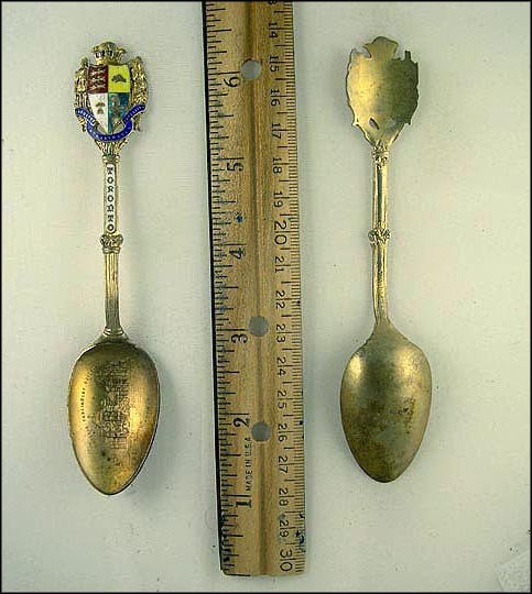 Cut Out Enameled Coat of Arms, Parliament Building Souvenir Spoon