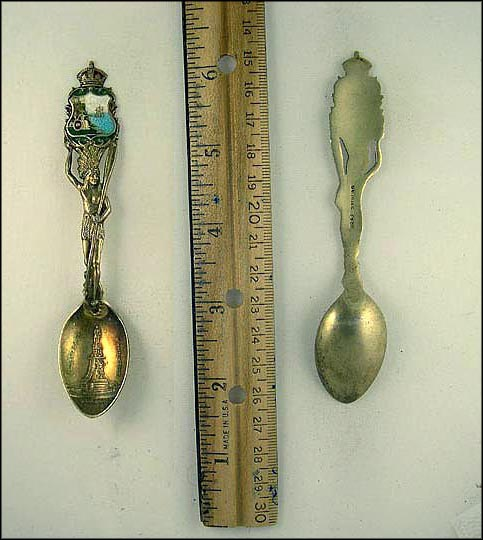 Champlain Monument, Cut Out Native American Holding Enameled Crest Souvenir Spoon