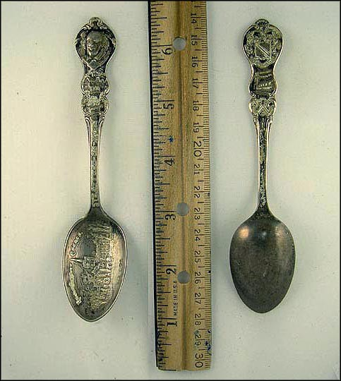 William Shakespeare's Arms, Signature and House; Ann Hathaway's Cottage; Holy Trinity Church Souvenir Spoon