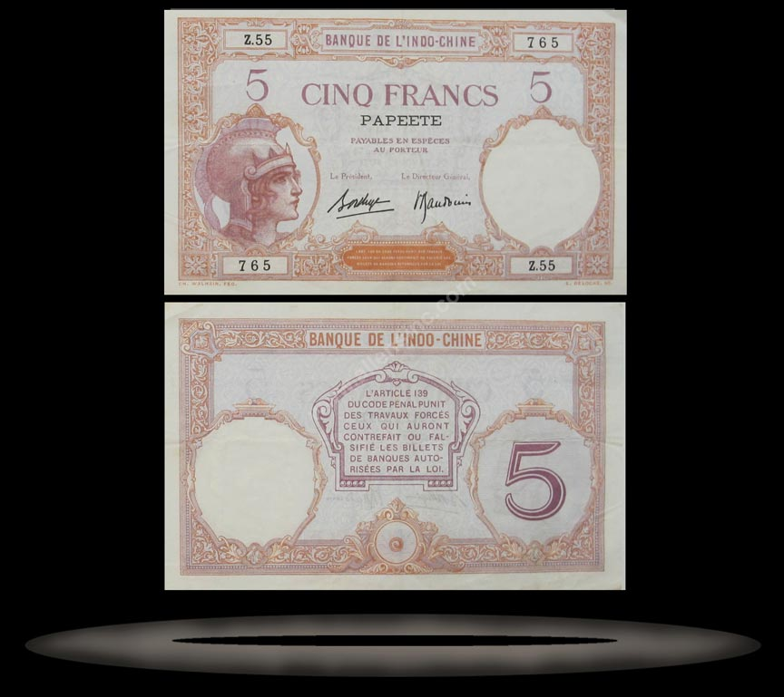 Tahiti Banknote, 5 Francs, ND (1927), P#11c MAIN