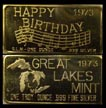 Happy Birthday 1973, gold plated' Art Bar by Great Lakes Mint. THUMBNAIL