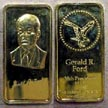 Gerald R. Ford, gold plated' Art Bar by Hamilton Mint. THUMBNAIL