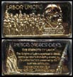Labor Unions, gold plated' Art Bar by Hamilton Mint. THUMBNAIL