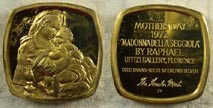 Madonna Della Seggiola by Raphael, gold plated' Art Bar by Lincoln Mint.
