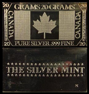 Canadian Flag' Art Bar by Silver Mint.