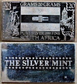 South African Flag' Art Bar by Silver Mint.