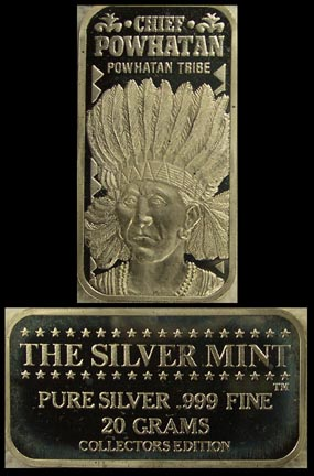 Chief Powhatan' Art Bar by Silver Mint.