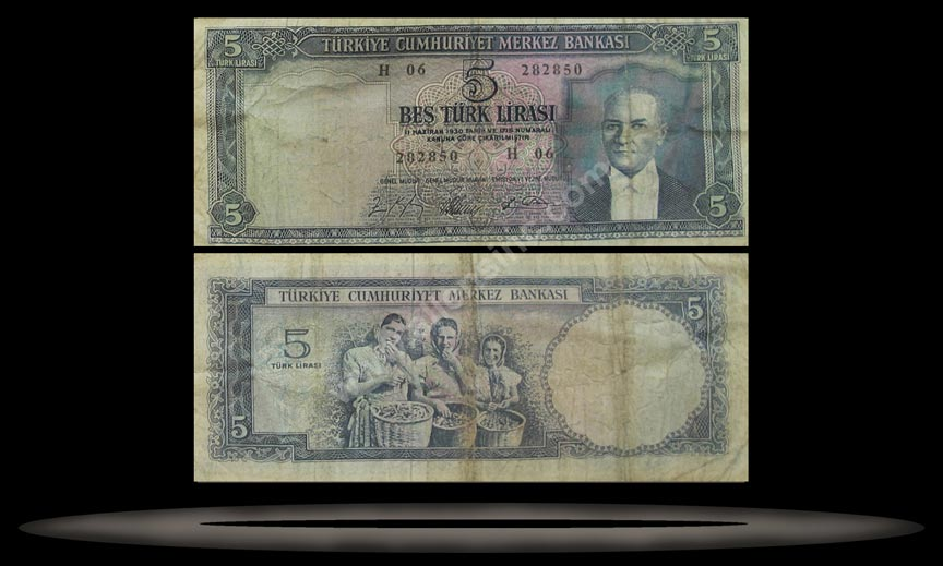 Turkey Banknote, 5 Lira, L.1930 (4.1.1965), P#174a MAIN