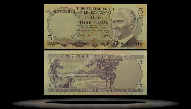 Turkey Banknote, 5 Lira, 8.1.1968, P#179 MAIN