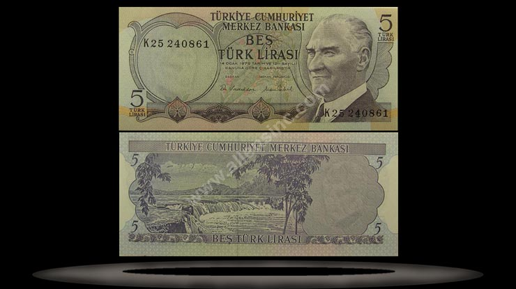 Turkey Banknote, 5 Lira, L.1970 (1976), P#185 MAIN