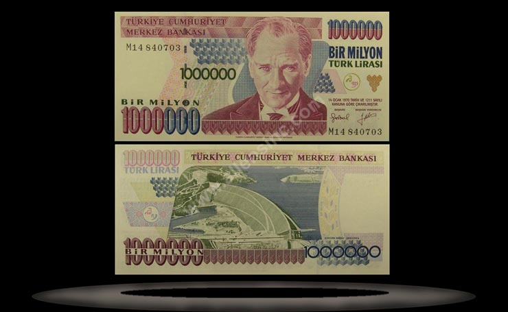 Turkey Banknote, 1 Million Lira, L.1970 (1995), P#209