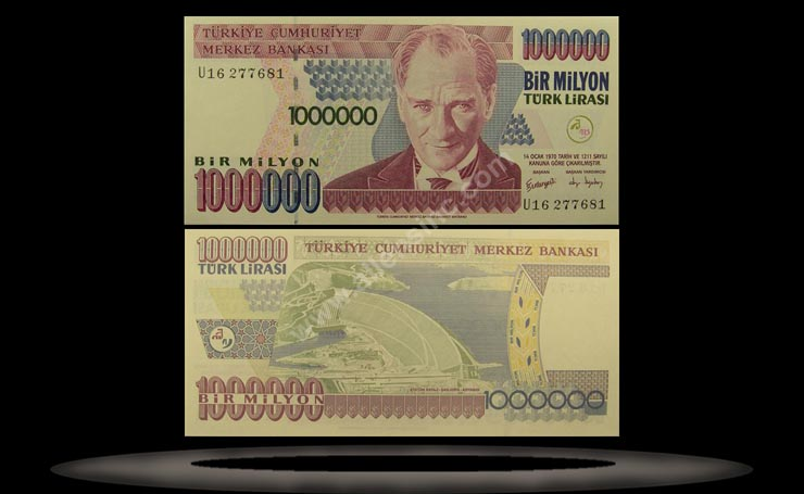 Turkey Banknote, 1 Million Lira, L.1970 (2002), P#213