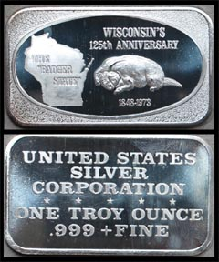 Wisconsin's 125th Anniversary' Art Bar by United States Silver Corp..