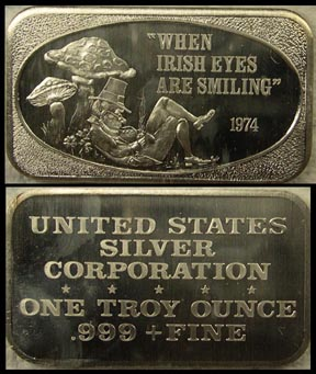 When Irish Eyes Are Smiling' Art Bar by United States Silver Corp..