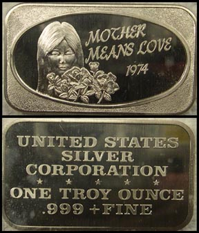 Mother Means Love 1974' Art Bar by United States Silver Corp..