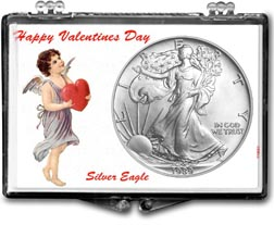 1989 Valentines Day American Silver Eagle Gift Display THUMBNAIL