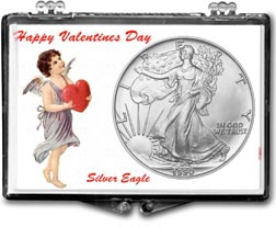 1990 Valentines Day American Silver Eagle Gift Display THUMBNAIL