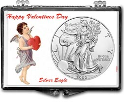 2000 Valentines Day American Silver Eagle Gift Display THUMBNAIL
