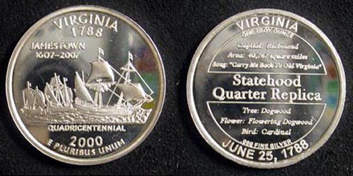 Virginia Quarter Replica' Art Bar.