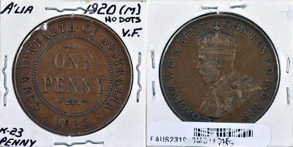 Australia, 1920 (m) ND 1 Penny, Cat# 23