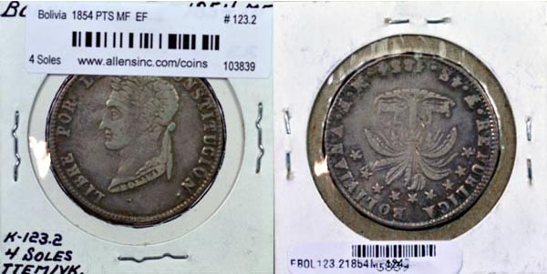 Bolivia, 1854 PTS MF 4 Soles, Cat# 123.2