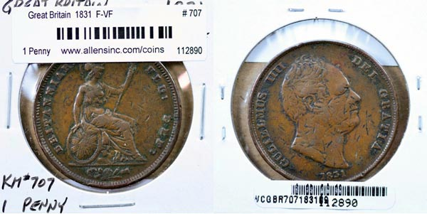 Great Britain, 1831 1 Penny, Cat# 707