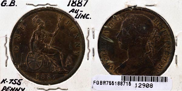 Great Britain, 1887 1 Penny, Cat# 755