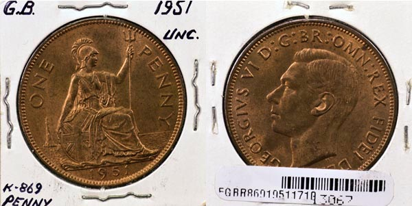 Great Britain, 1951 1 Penny, Cat# 869