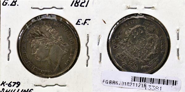 Great Britain, 1821 1 Shilling, Cat# 679