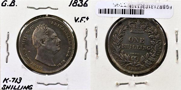 Great Britain, 1836 1 Shilling, Cat# 713