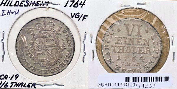 German States, Hildesheim, 1764 IH 1/6 Thaler, Cat# 111