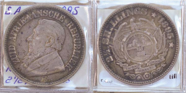 South Africa, 1895 2 1/2 Shillings, Cat# 7