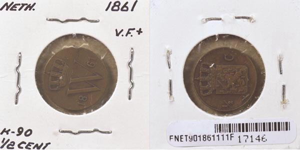 Netherlands, 1861 1/2 Cent, Cat# 90 MAIN