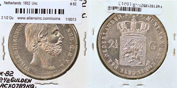 Netherlands, 1852 2 1/2 Gulden, Cat# 82