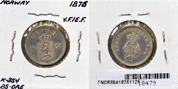 Norway, 1876 25 Ore, Cat# 354