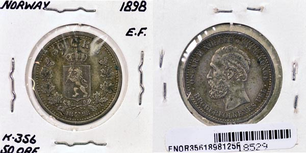 Norway, 1898 50 Ore, Cat# 356