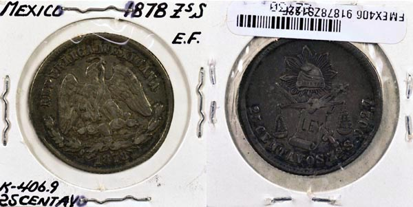Mexico, Republic, 1878 ZsS 25 Centavos, Cat# 406.9